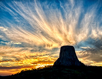 July - Devil's Tower Angelic Sunset
